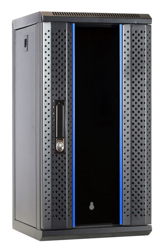 Afbeelding van 10 inch 12U serverkast met glazen deur 312x310x618mm (BxDxH)